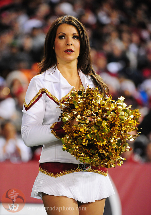 December 14, 2009; San Francisco, CA, USA; San Francisco 49ers Gold Rush cheerleader Brittany Wallace performs during the second quarter against the Arizona Cardinals at Candlestick Park. The 49ers defeated the Cardinals 24-9. Mandatory Credit: Kyle Terada-Terada Photo