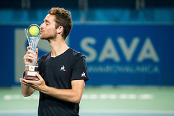 Winner Constant Lestienne (FRA) kissing a Trophy during the Trophy ceremony after the Final Singles match at Day 9 of ATP Challenger Zavarovalnica Sava Slovenia Open 2018, on August 11, 2018 in Sports centre, Portoroz/Portorose, Slovenia. Photo by Vid Ponikvar / Sportida