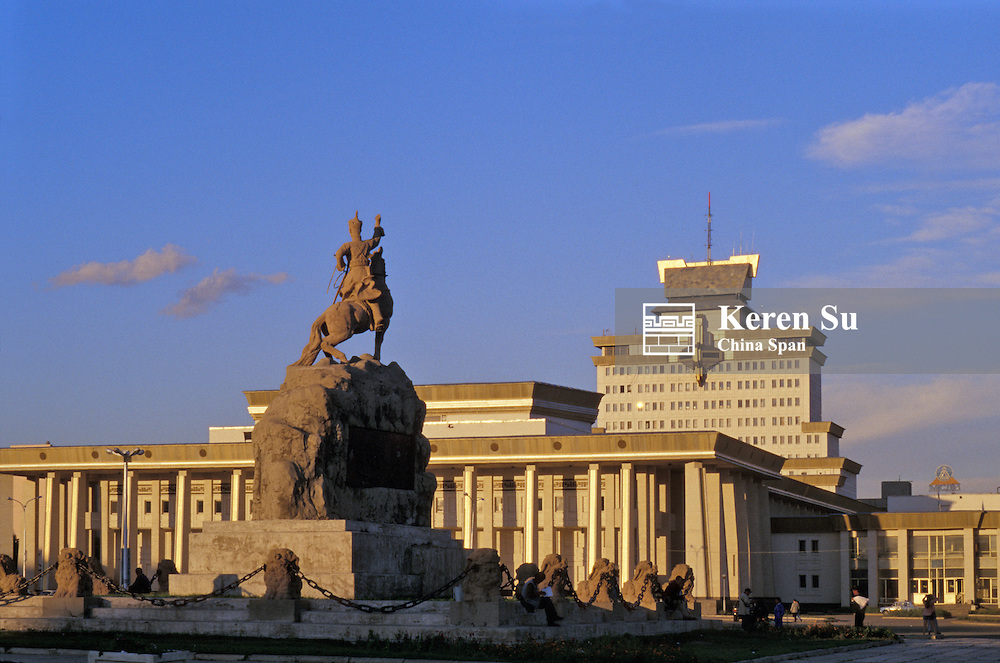 Sukhbaatar square, statue, mausoleum and Government House, Ulaan Baatar, Mongolia