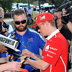 Kimi Raikkonen, Scuderia Ferrari signing autographs.<br /> <br /> Round 1 - 1st day of the 2017 Formula 1 Rolex Australian Grand Prix at The circuit of Albert Park, Melbourne, Victoria on the 23rd March 2017.<br /> Wayne Neal | SportPix.org.uk