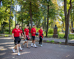 CHISINAU, MOLDOVA - Thursday, October 10, 2019: (L-R) Wales' Harry Clifton, Dan Mooney, Jack Evans, Ben Cabango, and Ryan Stirk during a team walk in Chisinau ahead of the UEFA Under-21 Championship Italy 2019 Qualifying Group 9 match between Moldova and Wales. (Pic by Kunjan Malde/Propaganda)