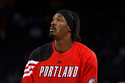 Feb 15, 2012; Oakland, CA, USA; Portland Trail Blazers small forward Gerald Wallace (3) warms up before the game against the Golden State Warriors at Oracle Arena. Portland defeated Golden State 93-91. Mandatory Credit: Jason O. Watson-US PRESSWIRE