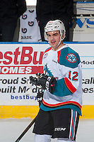 KELOWNA, CANADA - JANUARY 28: Erik Gardiner #12 of the Kelowna Rockets warms up against the Kelowna Rockets on January 28, 2017 at Prospera Place in Kelowna, British Columbia, Canada.  (Photo by Marissa Baecker/Shoot the Breeze)  *** Local Caption ***