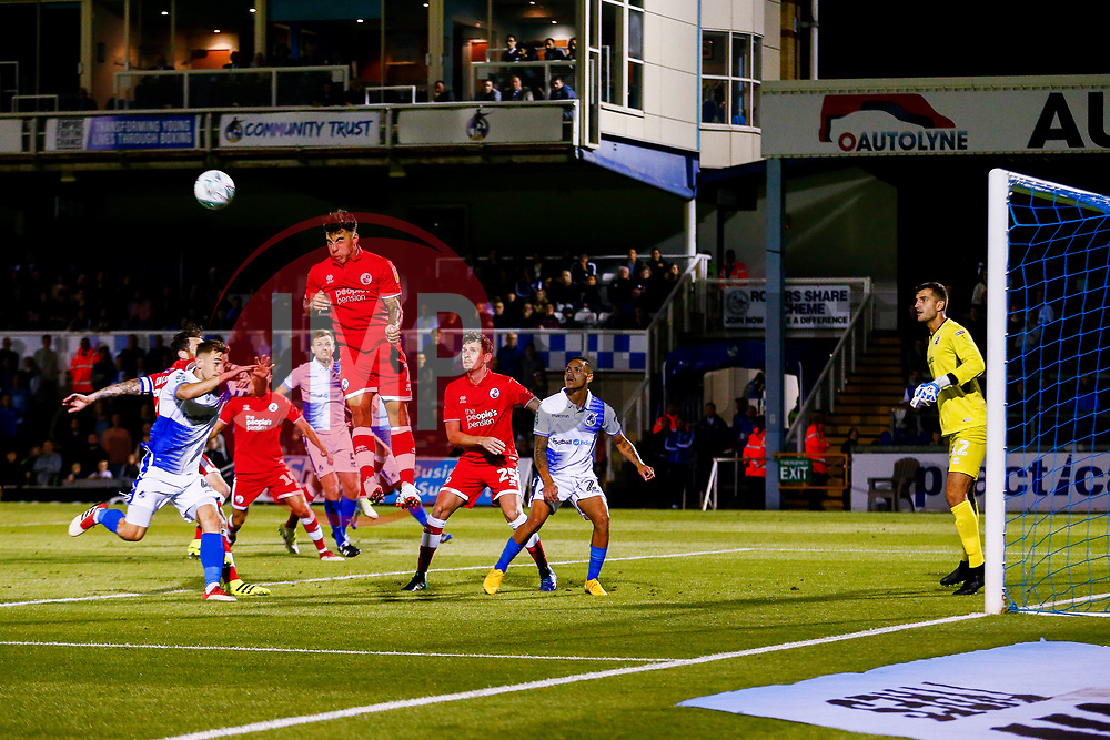 Reece Grego-Cox of Crawley Town heads the ball away from the Crawley box - Mandatory by-line: Ryan Hiscott/JMP - 14/08/2018 - FOOTBALL - Memorial Stadium - Bristol, England - Bristol Rovers v Crawley Town - Carabao Cup