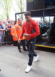 WEST BROMWICH, ENGLAND - Sunday, May 15, 2016: Liverpool's Jordon Ibe arrives before the final Premier League match of the season against West Bromwich Albion at the Hawthorns. (Pic by David Rawcliffe/Propaganda)