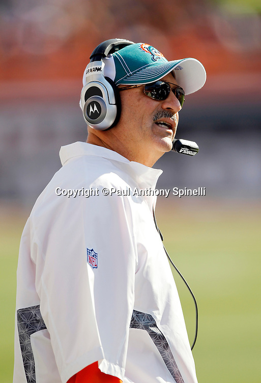 Miami Dolphins Head Coach Tony Sparano looks on during the NFL week 8 football game against the Cincinnati Bengals on Sunday, October 31, 2010 in Cincinnati, Ohio. The Dolphins won the game 22-14. (©Paul Anthony Spinelli)