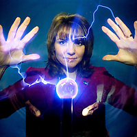 Heather Reid (Heather the Weather) launches an eco day and a celebration of all things scientific at the Glasgow Science Centre. Heather with a plasma ball.