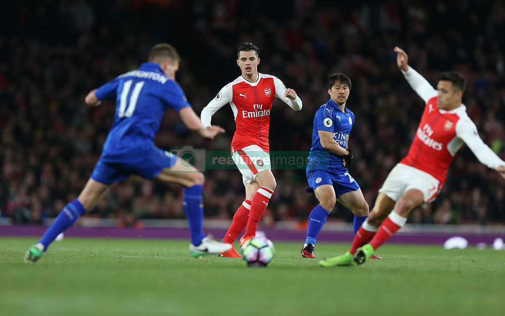 26 April 2016 London : Premier League Football : Arsenal v Leicester City :<br /> Granit Xhaka of Arsenal keeps hie eyes on the ball.<br /> Photo: Mark Leech