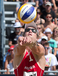 30.07.2014, Strandbad, Klagenfurt, AUT, FIVT, A1 Beachvolleyball Grand Slam 2014, Hauptrunde, im Bild Jörg Wutzl (AUT) // during Main Draw Match of the A1 Beachvolleyball Grand Slam at the Strandbad Klagenfurt, Austria on 2014/07/30. EXPA Pictures © 2014, EXPA Pictures © 2014, PhotoCredit: EXPA/ Johann Groder