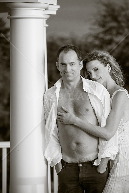 portrait of husband and wife at home in The Hamptons