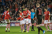 Alex Mowatt of Barnsley FC protests a decision during the EFL Sky Bet Championship match between Barnsley and Stoke City at Oakwell, Barnsley, England on 9 November 2019.