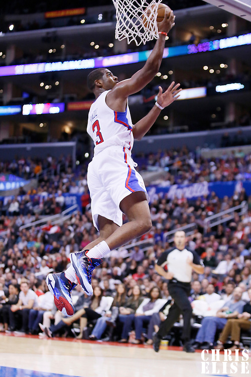 23 October 2013: Los Angeles Clippers point guard Chris Paul (3) goes for the layup during the Los Angeles Clippers 103-99 victory over the Utah Jazz at the Staples Center, Los Angeles, California, USA.