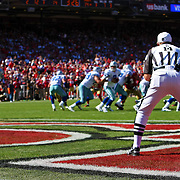 A referee watches the game action  during an NFL football game between the Dallas Cowboys and the San Francisco 49ers at Candlestick Park on Sunday, Sept. 18, 2011 in San Francisco, CA.   (Photo/Alex Menendez)