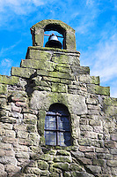 Stepped gable and window of the 7th century Anglo Saxon Church at Escomb, County Durham, UK