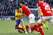Leeds United midfielder Jamie Shackleton (46) battles with Middlesbrough defender George Friend (3)  during the EFL Sky Bet Championship match between Middlesbrough and Leeds United at the Riverside Stadium, Middlesbrough, England on 9 February 2019.