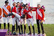 Switzerland thirty in the European Championships with Romain Duguet & Quorida de Treho, Martin Fuchs & Clooney 51, Janika Sprunger & Bonne Chance CW, Paul Estermann & Castlefield Eclipse<br /> FEI European Championships Aachen 2015<br /> © DigiShots