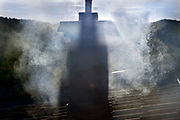 chimney smoke from wood burning
