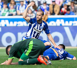 March 9, 2019 - Vitoria, Vitoria, Spain - Laguardia Deportivo Alaves defender ,ask for help  during the spanish championship,  La Liga BBVA, match played between Deportivo Alaves  and Sociead Deportiva Eibar, at Mendizorroza Stadium, in Vitoria, Spain. 09, March, 2019 (Credit Image: © AFP7 via ZUMA Wire)