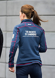 © London News Pictures. 26/07/2015. Catherine, Duchess of Cambridge at Land Rover BAR (Ben Ainslie Racing) in Portsmouth, South Hampshire, as part of a visit to the America's Cup World Series with Prince William. Photo credit: Ben Cawthra/LNP