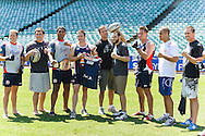 SYDNEY, AUSTRALIA, FEBRUARY 24, 2011: (L to R) Mitchell Aubusson, Matt Mitrione, Mose Masoe, Rhys Pritchard, Stephan Bonnar, Jon Fitch, Shaun Kenny-Dowall, James Te-Huna and Kyle Noke pose for a photograph during a media event at Sydney Football Stadium in Sydney, Australia on February 24, 2011