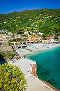 The beach at Monterosso al Mare, Cinque Terre, Liguria, Italy