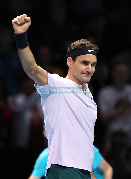 Roger Federer celebrates beating Jack Sock during day one of the NITTO ATP World Tour Finals at the O2 Arena, London.