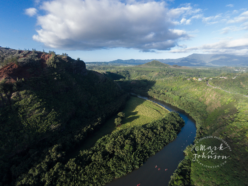 Aerial photograph of the Wailua River, Kauai, Hawaii