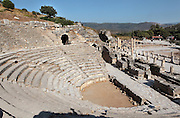 The Bouleuterion or Odeon, 2nd century AD, Ephesus, Izmir, Turkey. The Bouleuterion housed the meetings of the Boulea or Senate as well as musical performances and concerts. The originally roofed semi-circular auditorium is bonded to a stage wall and seats 1500. In 150 AD, Publius Vedius Antoninus sponsored a new stage building which housed a portrait gallery of the imperial family and the letters of Emperor Antoninus Pius. Ephesus was an ancient Greek city founded in the 10th century BC, and later a major Roman city, on the Ionian coast near present day Selcuk. Picture by Manuel Cohen