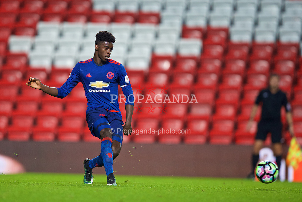 LIVERPOOL, ENGLAND - Monday, January 16, 2017: Manchester United's Captain Axel Tuanzebe in action against Liverpool during the FA Premier League 2 Division 1 Under-23 match at Anfield. (Pic by David Rawcliffe/Propaganda)