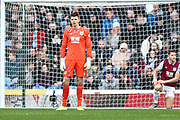 Burnley goalkeeper Nick Pope looks dejected after conceding a goal from Leicester City midfielder Harvey Barnes during the Premier League match between Burnley and Leicester City at Turf Moor, Burnley, England on 19 January 2020.