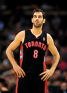 Jan. 24, 2012; Phoenix, AZ, USA; Toronto Raptors guard Jose Calderon (8) reacts on the court while playing against the Phoenix Suns during the first half at the US Airways Center. The Raptors defeated the Suns 99-96.  Mandatory Credit: Jennifer Stewart-US PRESSWIRE.