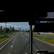 Aboard a greyhoung coach on the east coast road of Australia.