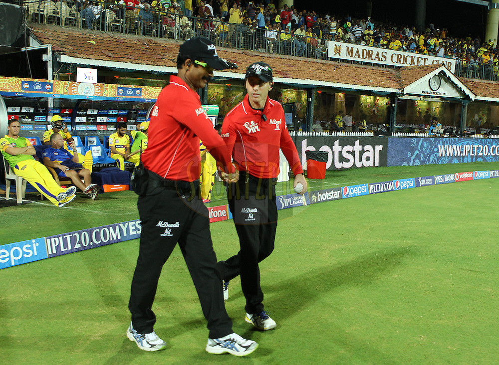 The umpires take to the field during match 43 of the Pepsi IPL 2015 (Indian Premier League) between The Chennai Superkings and The Mumbai Indians held at the M. A. Chidambaram Stadium, Chennai Stadium in Chennai, India on the 8th May April 2015.<br /> <br /> Photo by:  Ron Gaunt / SPORTZPICS / IPL