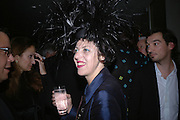 Isabella Blow, Cartier Dinner hosted by Arnaud Bamberger, Matthew Slotover and Amanda Sharp to celebrate the artist featured in Frieze projects 2005. Nobu Berkeley St..  London. 21 October 2005. ONE TIME USE ONLY - DO NOT ARCHIVE © Copyright Photograph by Dafydd Jones 66 Stockwell Park Rd. London SW9 0DA Tel 020 7733 0108 www.dafjones.com