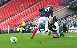 Falkirk's Jay Fulton and Hibernian's Ryan McGivern..Hibernian 4 v 3 Falkirk, William Hill Scottish Cup Semi Final, Hampden Park..©Michael Schofield..