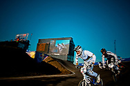 #1 (DAUDET Joris) in the Semi Final at the 2011 UCI BMX Supercross World Cup in London