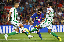 August 20, 2017 - Barcelona, Spain - Aissa Mandi, Zou Feddal and Leo Messi during La Liga match between F.C. Barcelona v Alaves, in Barcelona, on September 10, 2016. Photo: Edi Capmany/Urbanandsport/Nurphoto  (Credit Image: © Urbanandsport/NurPhoto via ZUMA Press)