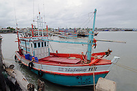 Fishing boats at harbor in the Gulf of Thailand, Ban Phe, Thailand