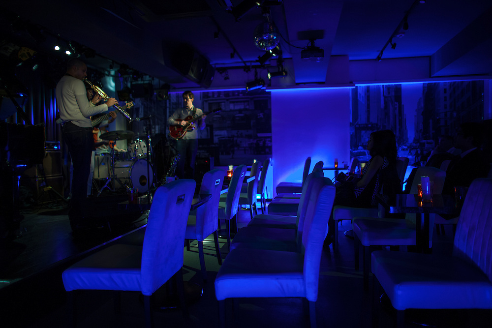 "Michael Robets on Sax with other musicians at a typiacal smal Tokyo Jazz club ""Absolute Blue"" ."
