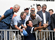 JERSEY CITY, NJ - SEPTEMBER 28: Former Presidents Bill Clinton, George W. Bush and Barack Obama pose for a selfie with Phil Mickelson of the U.S. Team during the trophy ceremony during the first round of the Presidents Cup at Liberty National Golf Club on September 28, 2017, in Jersey City, New Jersey. (Photo by Chris Condon/PGA TOUR)<br /> <br /> This was such a fun moment at the Presidents Cup with Three former Presidents posing for a selfie with Phil Mickelson. The selfie went viral, but I think my composition is a little better, at least I got all of Phil's head in the frame!