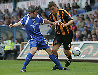 Photo: Lee Earle.<br /> Cardiff City v Hull City. Coca Cola Championship. 28/04/2007.Hull's Nicky Forster (R) battles with Kevin McNaughton.