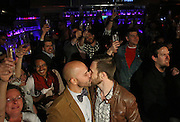 Fernando Mojica and Drew Freeman, who became engaged today, celebrate during a champagne toast at Sidetrack to mark the passage of same-sex marriage in Illinois on Tuesday, Nov 5, 2013. (Brian Cassella/Chicago Tribune) B583315447Z.1 <br /> ....OUTSIDE TRIBUNE CO.- NO MAGS,  NO SALES, NO INTERNET, NO TV, CHICAGO OUT, NO DIGITAL MANIPULATION...