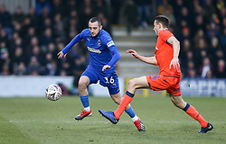 Dylan Connolly of AFC Wimbledon runs at Murray Wallace of Millwall - Mandatory by-line: Arron Gent/JMP - 16/02/2019 - FOOTBALL - Cherry Red Records Stadium - Kingston upon Thames, England - AFC Wimbledon v Millwall - Emirates FA Cup fifth round proper