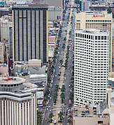 aerial view of Canal Street in downtown New Orleans