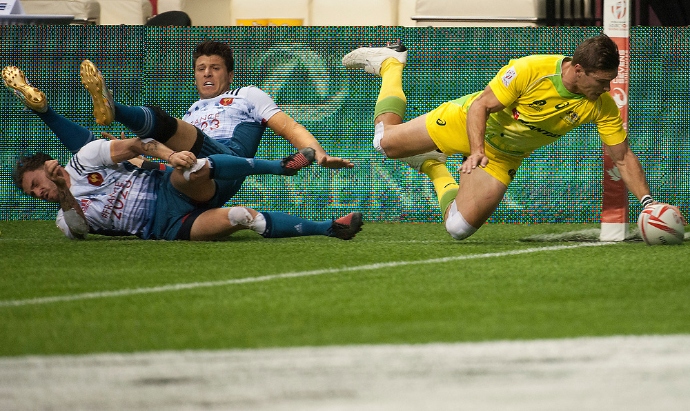 Ed Jenkins scores against France for Australia during the pool stages of the Canada Sevens,  Round Six of the World Rugby HSBC Sevens Series in Vancouver, British Columbia, Saturday March 11, 2017. <br /> <br /> Jack Megaw.<br /> <br /> www.jackmegaw.com<br /> <br /> jack@jackmegaw.com<br /> @jackmegawphoto<br /> [US] +1 610.764.3094<br /> [UK] +44 07481 764811