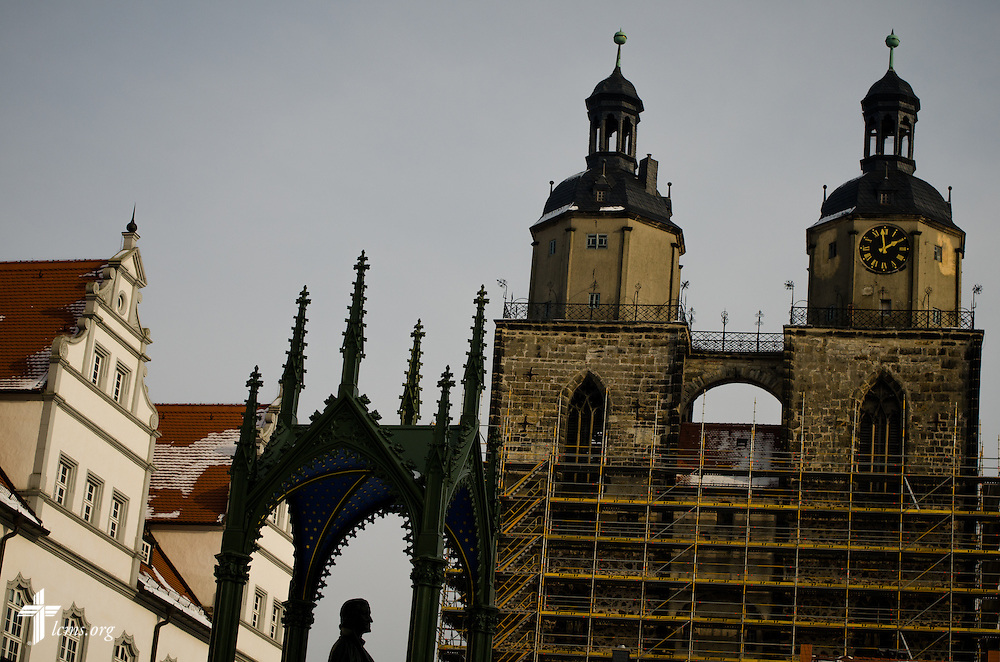 A view of the Stadtkirche (right) on Thursday, Jan. 30, 2014, in Wittenberg, Germany. LCMS Communications/Erik M. Lunsford
