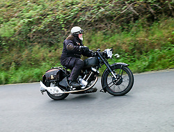 © Licensed to London News Pictures. <br /> 10/09/2017 <br /> Saltburn by the Sea, UK.  <br /> <br /> An entrant rides his motorcycle up the hill during the annual Saltburn by the Sea Historic Gathering and Hill Climb event. Organised by Middlesbrough and District Motor Club the event brings together owners of a wide range of classic cars and motorcycles dating from the early 1900's to 1975. Participants take part in a hill climb to test their machines up a steep hill near the town. Once held as a competitive gathering a change in road regulations forced the hill climb to become a non-competitive event.<br /> <br /> Photo credit: Ian Forsyth/LNP