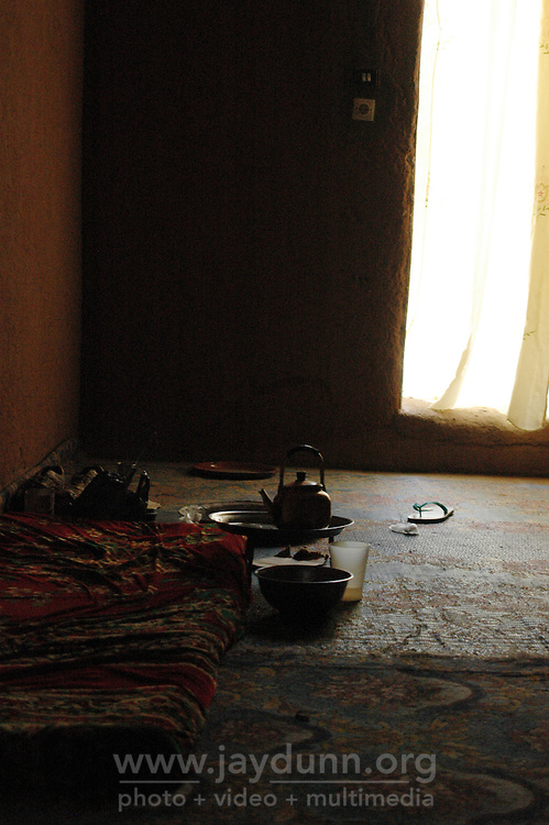 Niger,Agadez,2007. Set slightly below ground level, this big room inside Mohammad Ixa's family home is a cool refuge from the midday sun.