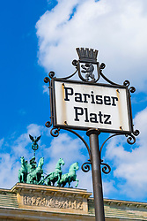Detail of ornate historic street sign at Pariser Platz and Brandenburg Gate in Berlin Germany