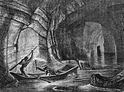 Exploring The Styx, a subterranean river in the Mammoth Cave, the system of limestone caverns in Kentucky, USA. Wood engraving  c1870